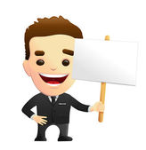 Smiling Businessman Character In A Black Suit Holding A Sign — Stock Vector
