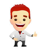 Smiling Guy In A White Suit giving Thumbs Up — Stock Vector
