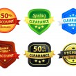 Colorful Clearance Discount Badges — Imagen vectorial