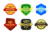 Colorful Clearance Discount Badges — Stock Vector