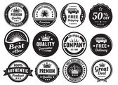 Twelve Scalable Vintage Badges — Stock Vector