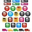 Stock Vector: Free Delivery Truck Icons And Badges