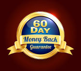 Golden 60 Day Guarantee Badge — Stock Vector