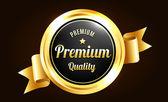 Golden Premium Quality Badge — Stock Vector