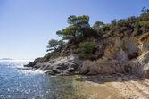 Sandy little beach in Sithonia, Chalkidiki, Greece, like a paradise — Stock Photo