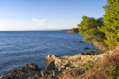 Rocky coast in Chalkidiki, Sithonia, Greece, with crystal clear water — Stock Photo