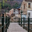 Wooden and metal pedestrian bridge in Florina, a popular winter destination in northern Greece, on an overcast day — Stock Photo