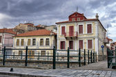 Old neoclassical buildings in Florina, a popular winter destination in northern Greece, on an overcast day — Stock Photo