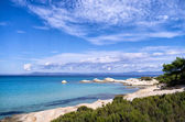Rocky coast with exotic water and little sandy gulfs, in Sithonia, Chalkidiki, Greece — Stock Photo