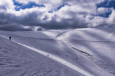 Snowy slope in 3-5 Pigadia ski center, Naoussa, Greece — Stock Photo