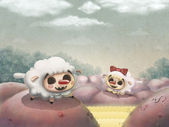 Dos ovejas amorosas — Foto de Stock
