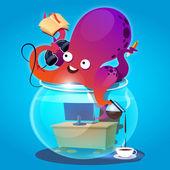 Polvo no aquário — Vetorial Stock