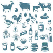 Icons of animals and food — Stock Vector