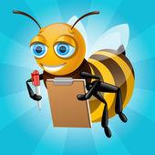 蜂蜜の蜂を紙に書き込みます — ストックベクタ