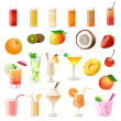 Different cocktails and drinking — Stock Vector