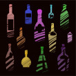 Bottles on black background — Stock Vector