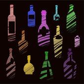 Bottles on black background — Stock Vector