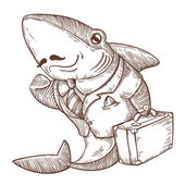 Successful shark business — Stock Vector