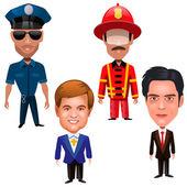 čtyři muži z různých profesí — Stock vektor