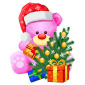 Gift christmas pink teddy bear — Stock Vector