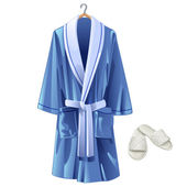 Vector blue bathrobe and white slippers — Stock Vector