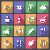 Set of food icons in flat design — Stock Vector