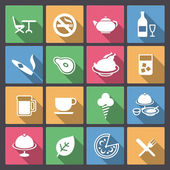 Set of food and alcohol drink icons in flat design — Stock Vector