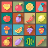 Set of sixteen vegetables icons in flat design style — Stock Vector