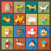 Set of sixteen farm icons in flat design style — Stock Vector