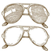 Engraving illustration of sunglasses — Stock Vector