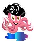 Polpo felice pirat — Vettoriale Stock
