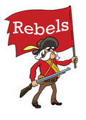 Rebels with red flag — Stock Vector