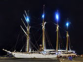 Sailing ship Esmeralda. The view at night — Stock Photo