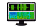 Digital signal processing. Spectrogram of an audio signal. — Stock Photo