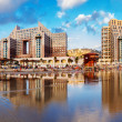 Haifa. Carmel Beach and hotels with reflection in water of Mediterranesea — Stock Photo #29736851