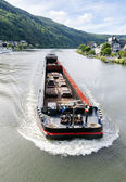 Сargo ship on the river Moselle. Germany. — Stockfoto