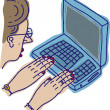 Illustration of Word Processing — Imagen vectorial