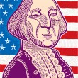 Vector illustration of George Washington with the flag of USA in the background — Stock Vector