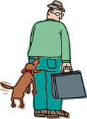 Vector illustration of a man being bitten by a dog from behind — Stock Vector
