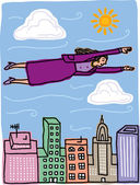 Vector illustration of a business woman flying above skyscrapers — Vecteur