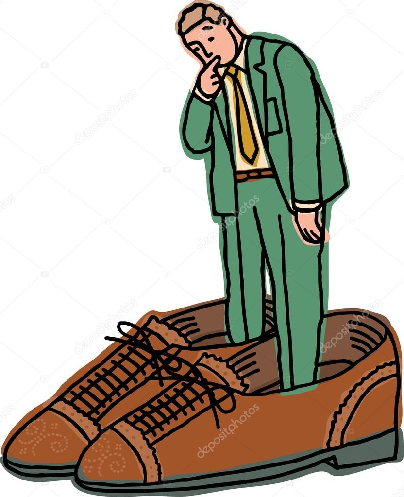 illustration of a businessman in too big shoes - Stock Illustration