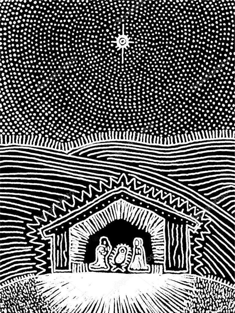 Nativity Scene Artwork The Nativity Scene Black
