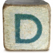 Photograph of Blue Wooden Block Letter D — Foto Stock