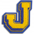 Photograph of School Sports Letter  - Blue and Yellow J — Photo