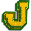 Photograph of School Sports Letter  - Green and Yellow J — 图库照片