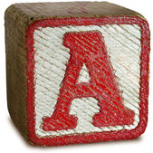 Photograph of Red Wooden Block Letter A — Stock Photo