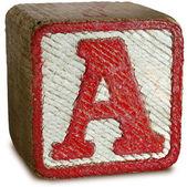 Foto van rode houten blok brief een — Stockfoto