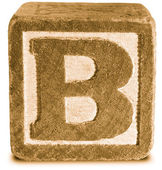 Photograph of Sepia Wooden Block Letter B — Стоковое фото