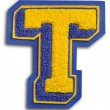 Photograph of School Sports Letter  - Blue and Yellow T — Stock Photo