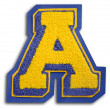 Photograph of School Sports Letter  - Blue and Yellow A — Stock Photo